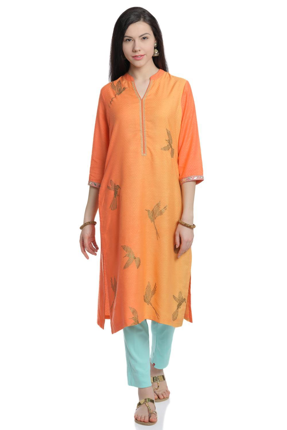 Lime & Peach Straight Cotton Kurta - SUMMERE13481S