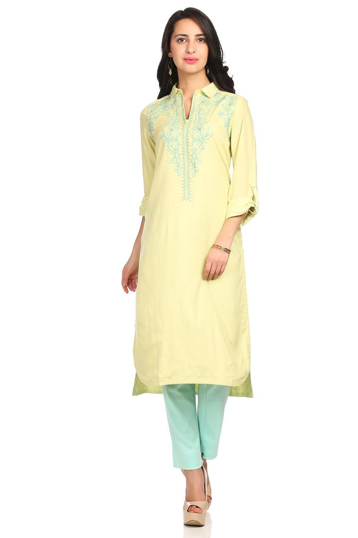 Green Straight High Low Viscose & Cotton Kurta - S