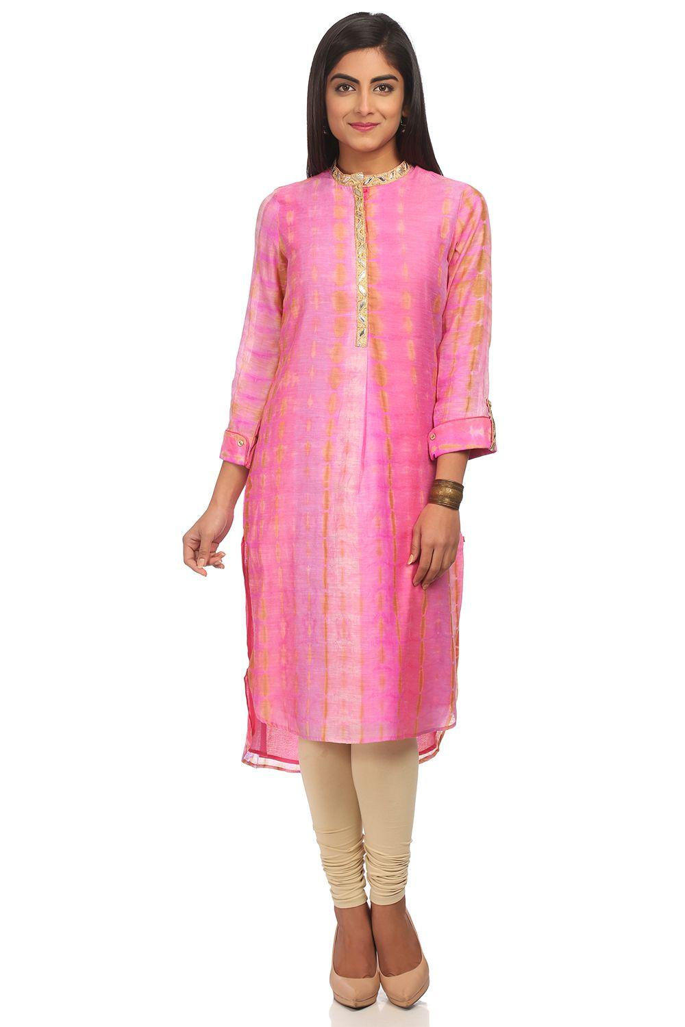 Pink Straight High Low Poly Cotton Kurta - SUMMERE