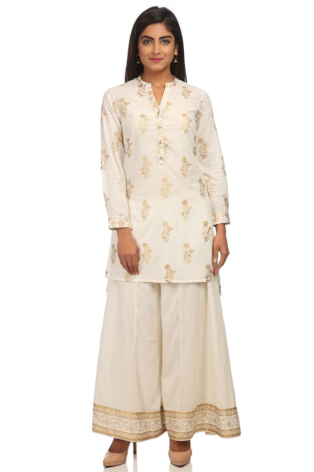 Off White Straight High Low Cotton Kurta - SUMMERE