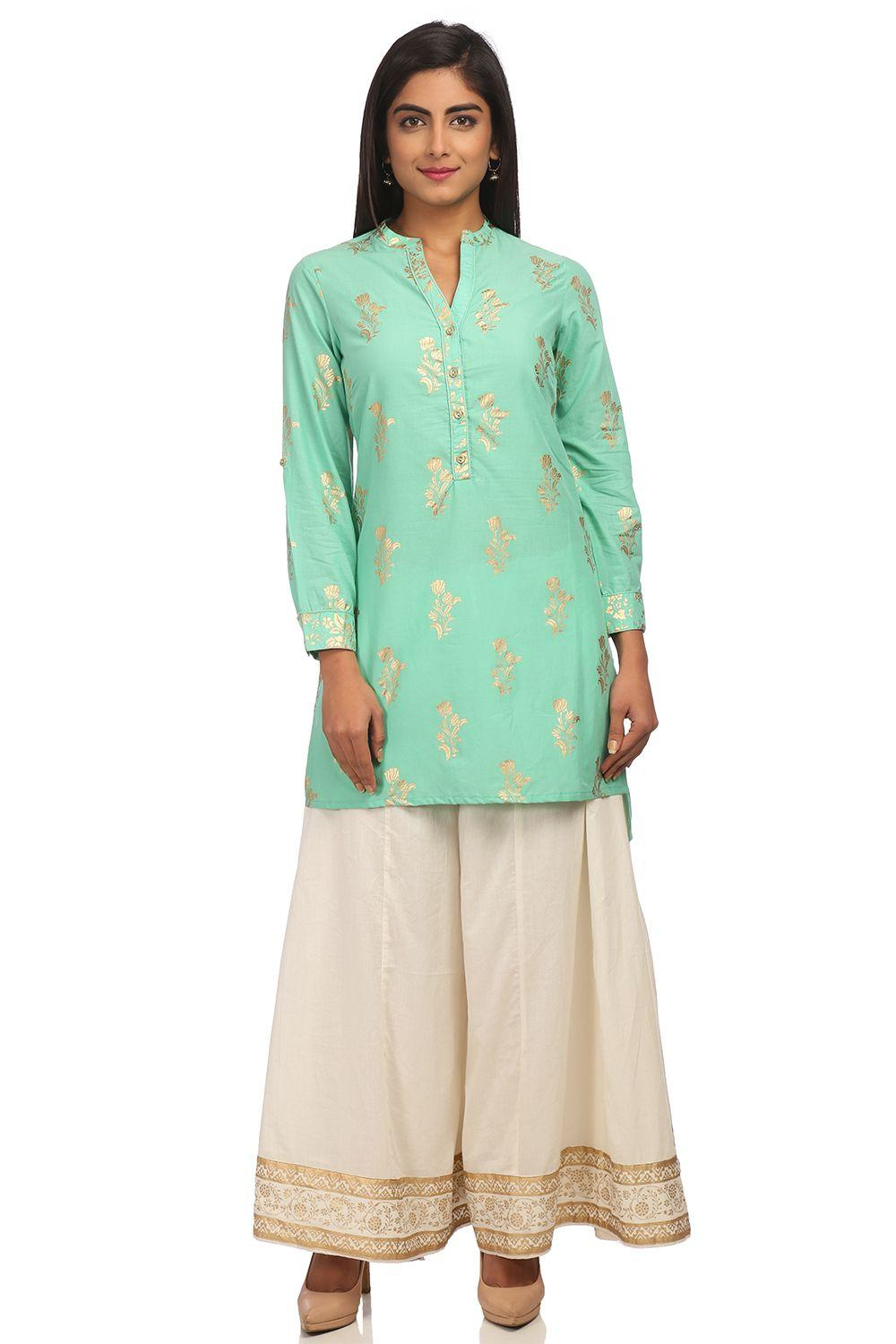 Turquoise Straight High Low Cotton Kurta - SUMMERE