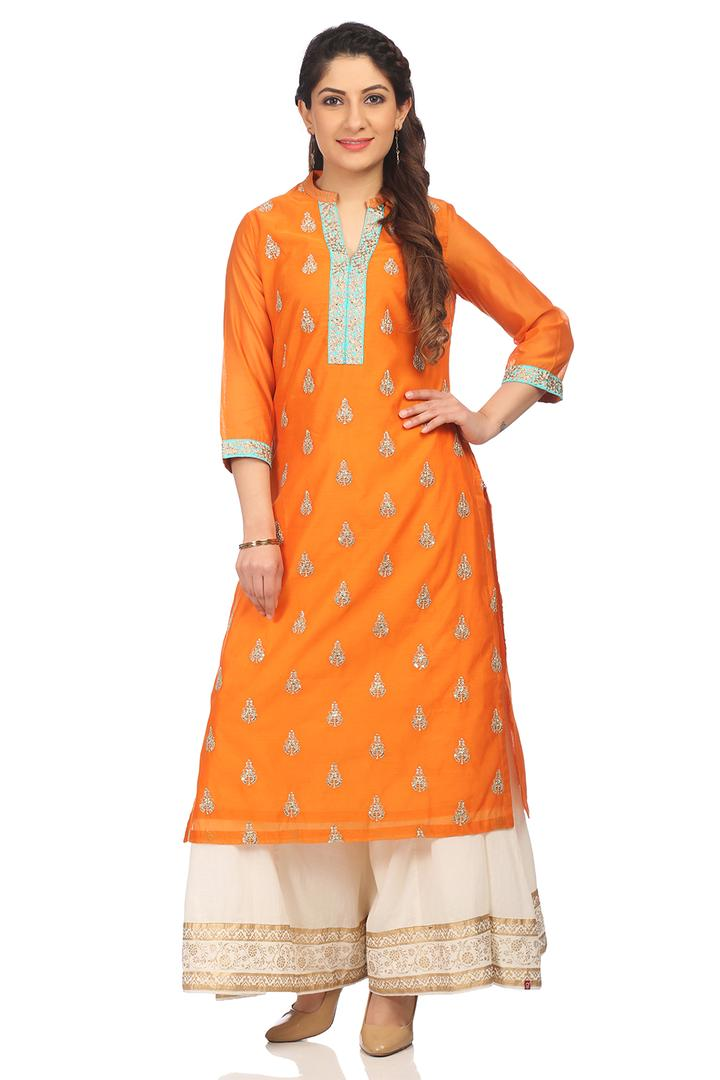 Orange Straight Cotton Kurta - SUMMERE13528SS18ORG