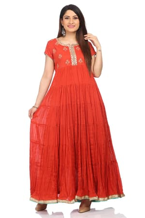Red Flared Cotton Kurta - SUMMERE13530SS18RED