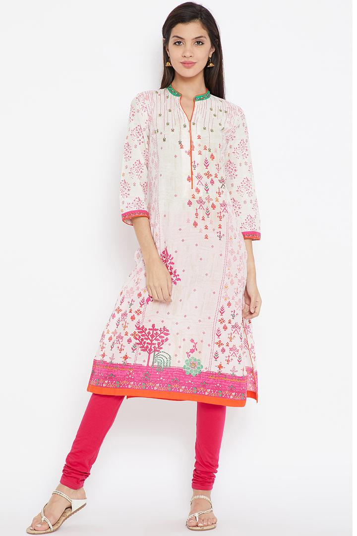 Off White & Pink Straight Cotton Kurta - URBANFO13