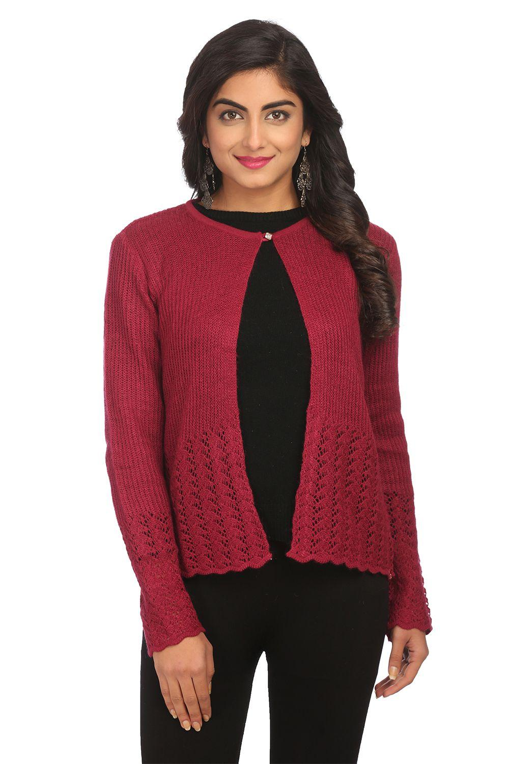 Maroon Asymmetric Acrylic & Wool Shrug - WINTERW13