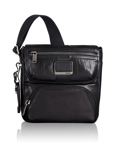 TUMI Singapore Black Barton Crossbody Leather Bag