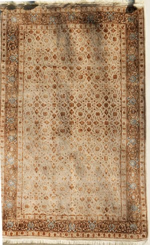 Wool Decorative Recreations, Antique Recreations, Carpets & Rugs, Our Collection, The Carpet Cellar, Indo Lattice Bidzar<br>A-4242<br>6.4 Feet X 4 Feet , Beige,Gold,Silver , 6.4 Feet X 4 Feet