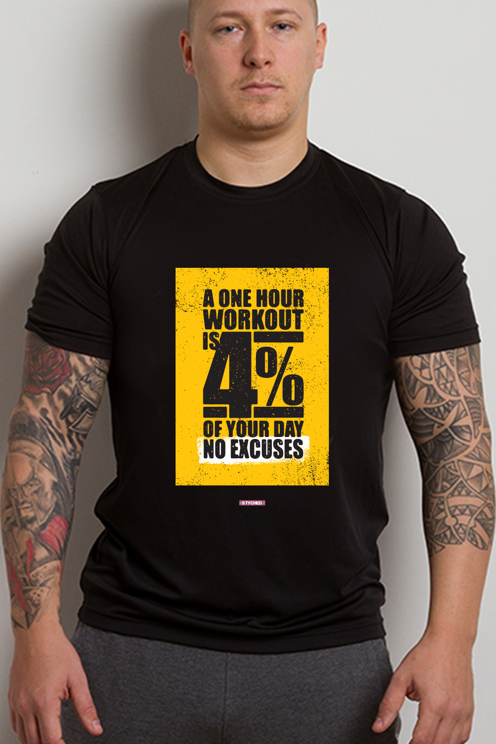 26fe1ec2c WORKOUT, A One Hour Workout is 4% of your Day. No Excuses. Graphic T-Shirt  Black Color