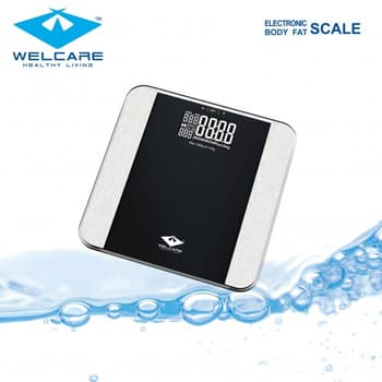 Home Use, Home Health Care, Welcare, Body Fat Scale , This Body Fat scale allow you to measure weight, body fat percentage, water percentage, weight of bone, visceral fat muscle and calorie value simultaneously and easily, simply by stepping on a scale. Personal data (Female/ Male, Age, Height) can be p