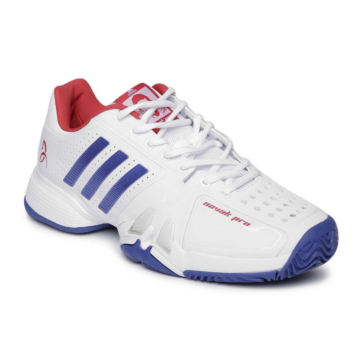 2ccc8f735 Buy Adidas Novak Pro Tennis Shoes (White Royal Scarlet) Online
