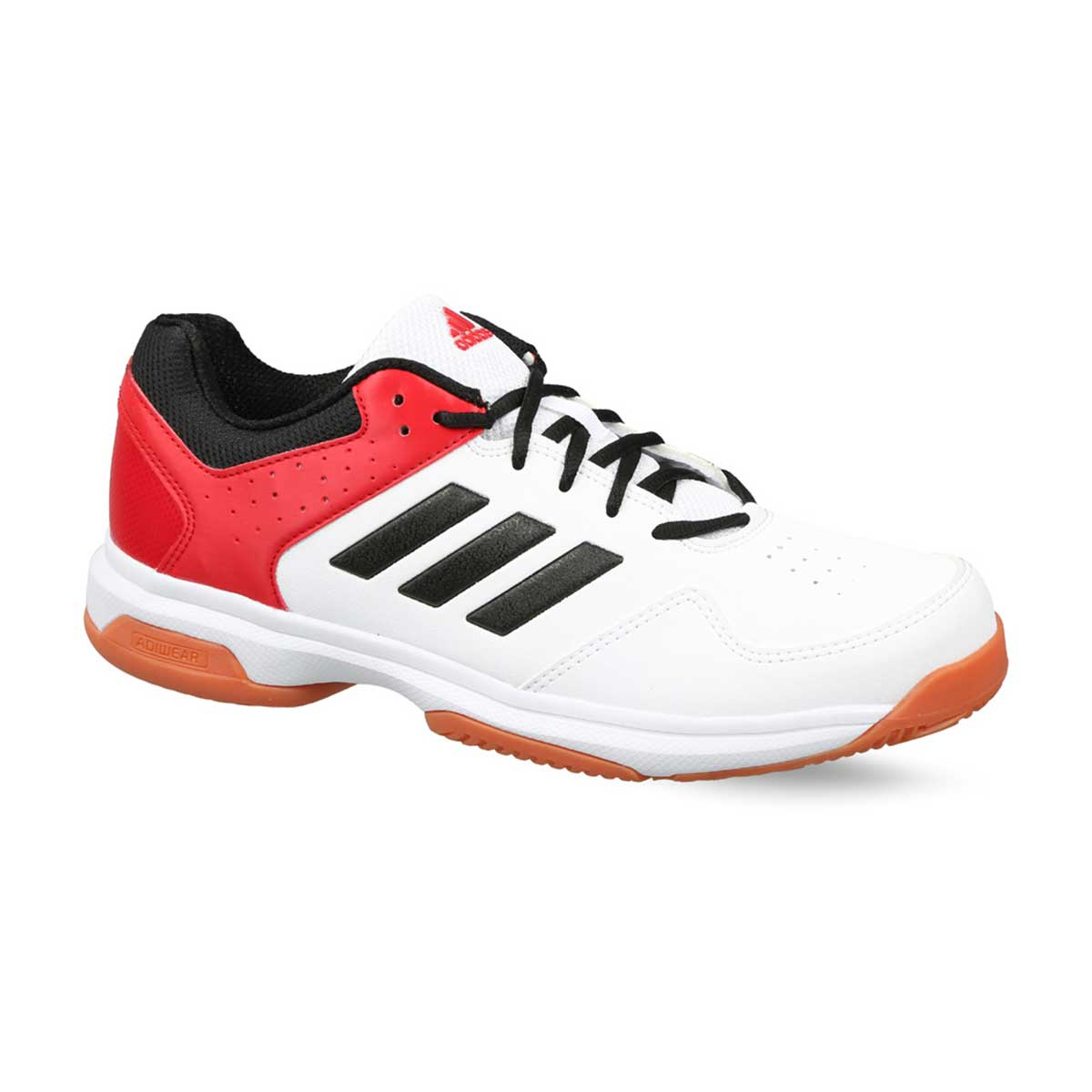 best service 51fc5 1aa25 Adidas Quick Force Indoor Badminton Shoes (White/Black/Red/Orange)