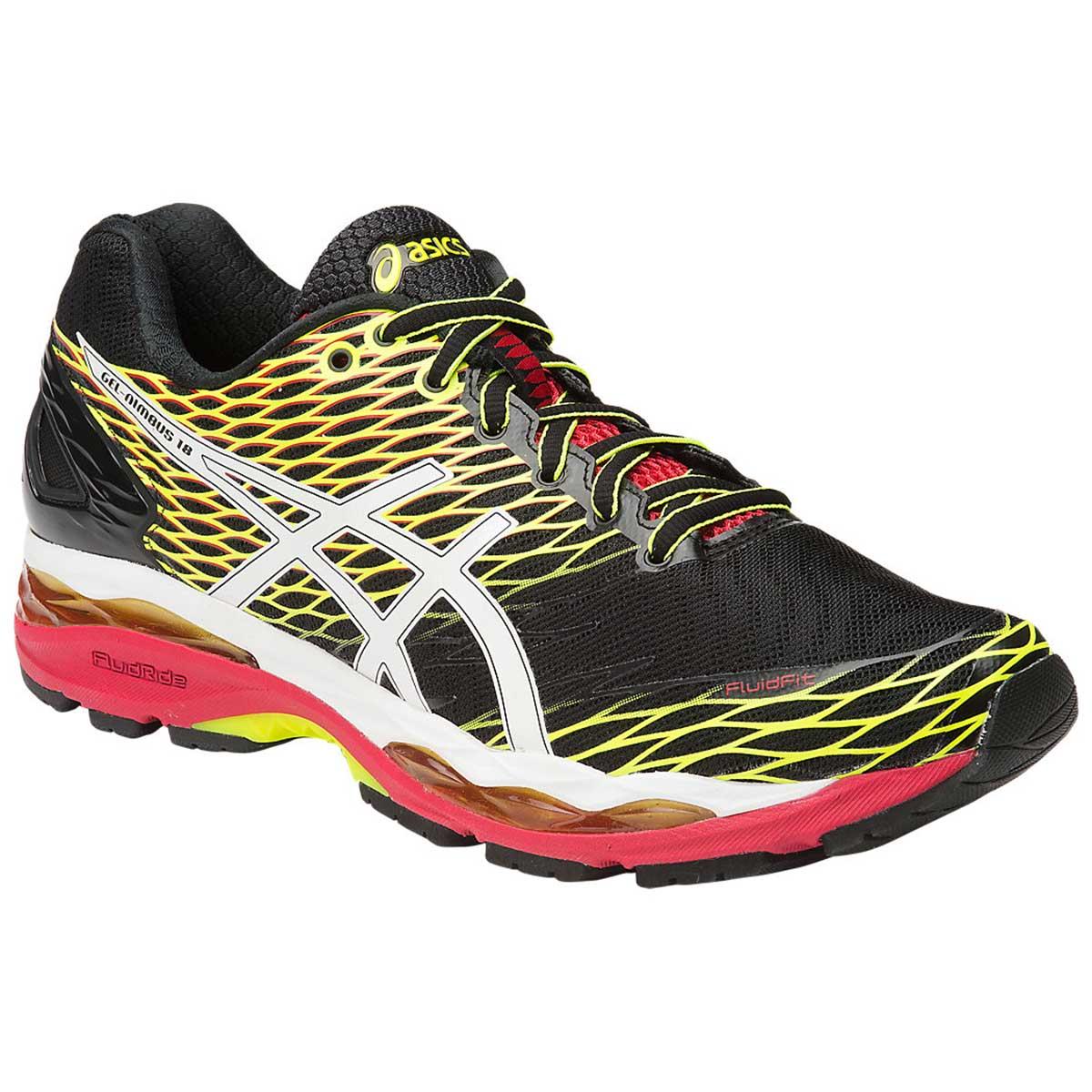 Snow Running Shoes >> Buy Asics Gel Nimbus 18 Running Shoes Black Snow Fiery Red Online