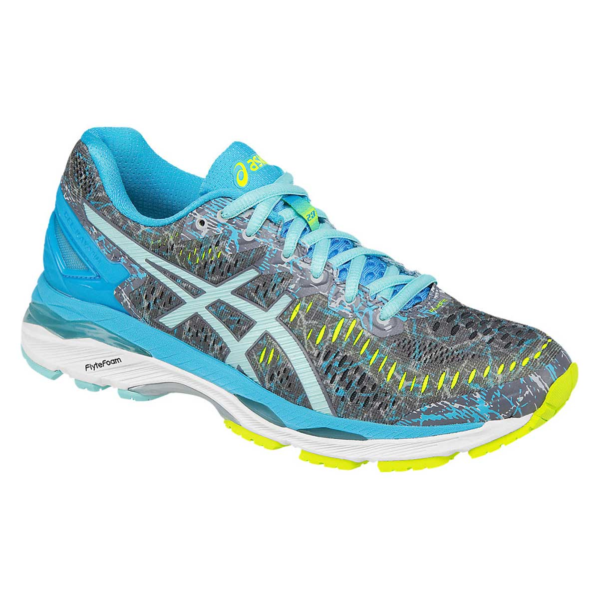watch 86510 3595a Asics Gel-Kayano 23 Running Shoes (Shark/Aruba Blue/Aquarium)