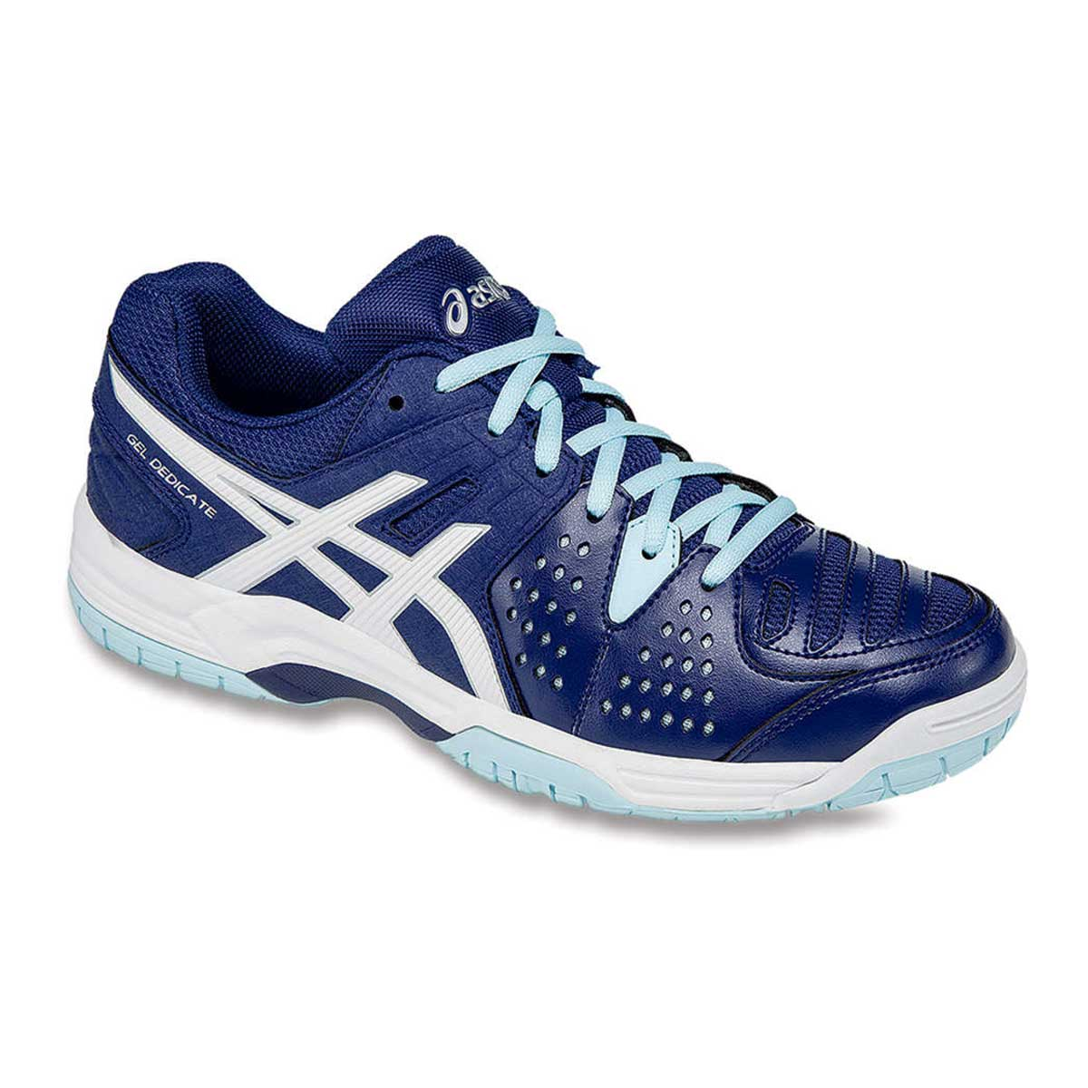 sells undefeated x shop best sellers Asics Gel-Dedicate 4 Womens' Tennis Shoes (Indigo/White/Crystal Blue)