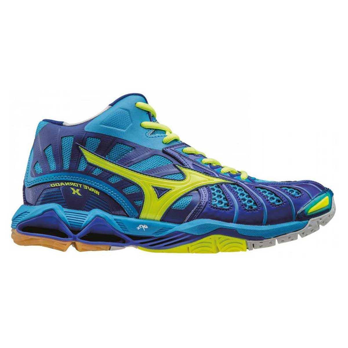 taille 40 1c3d5 ae7b4 Mizuno Wave Tornado X Mid Indoor Court Shoes (Diva Blue/Safety Yellow/Surf  The Web)