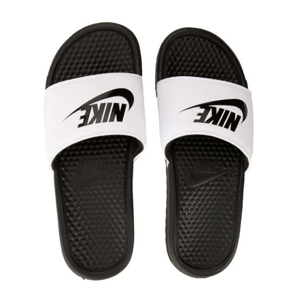 690c86333 Buy Nike Benassi JDI Flip flops (White Black) Online at Lowest Price in  India