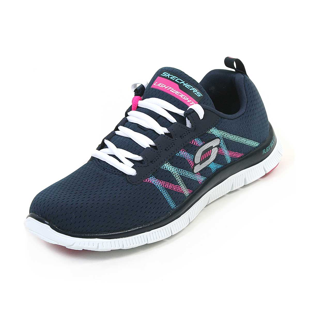 5113bdd8555f Buy Skechers Flex Appeal Womens Running Shoes (Navy / Multi) Online