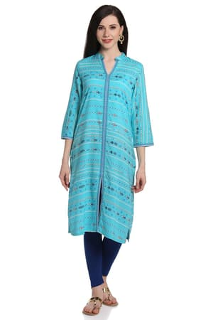 Navy Blue Straight Acro Wool Kurta