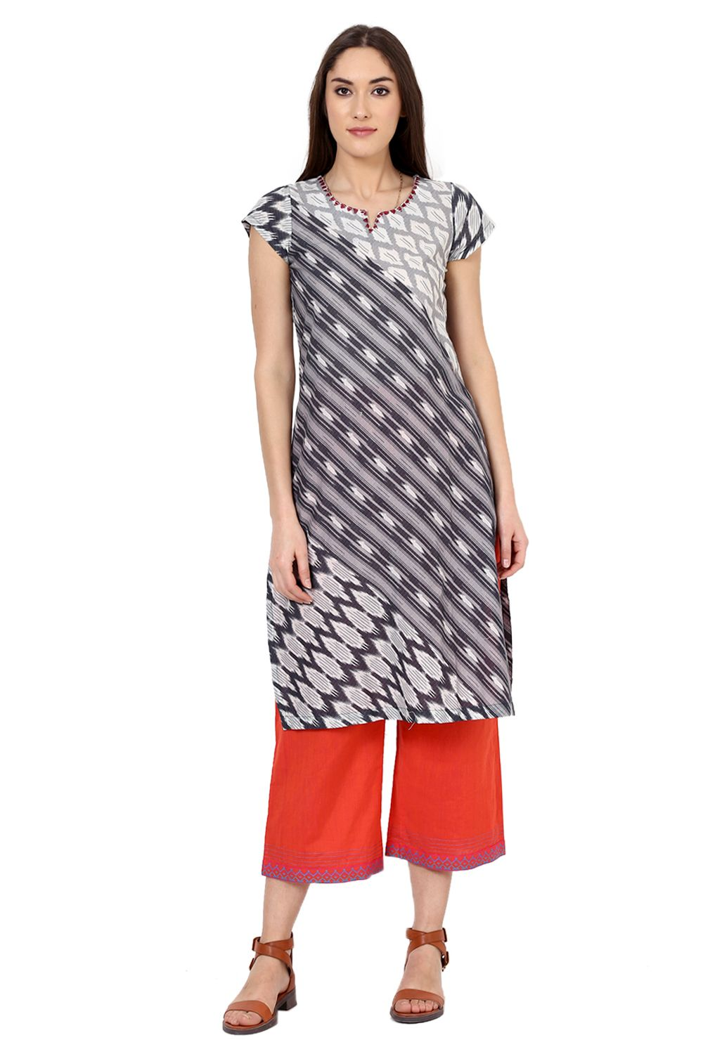 db54b035420 Buy Online Grey Straight Cotton Kurta for Women at Best Price at  Rangriti.com - RMMINDIANK1279GRY