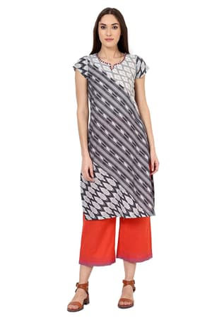 Grey Straight Cotton Kurta