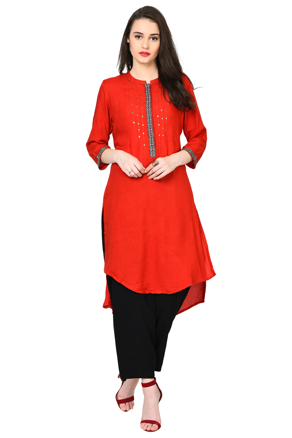 7504003bcd0 Buy Online Red Straight Modal Kurta for Women at Best Price at Rangriti.com  - RMMTRIBALP8019AW17RED