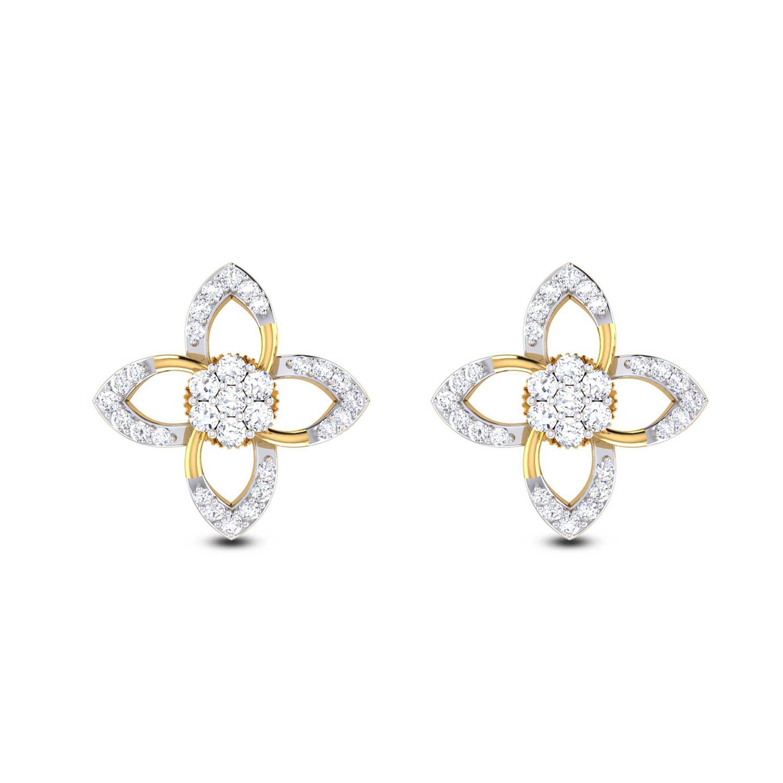 1af45aca28f Simple Floral Diamond Stud