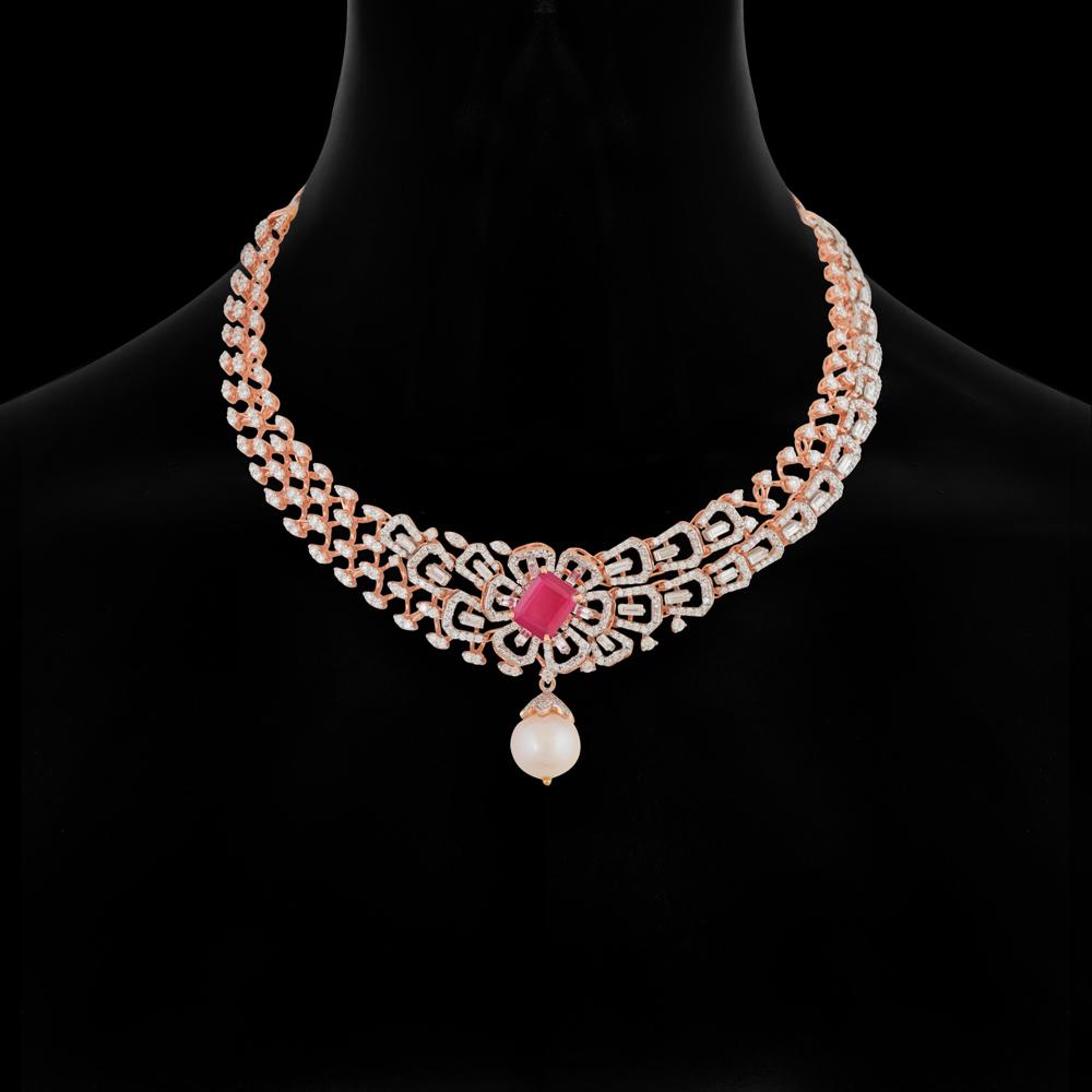 7a9de4950f091f Necklaces & Sets, Trendy Floral Diamond Necklace