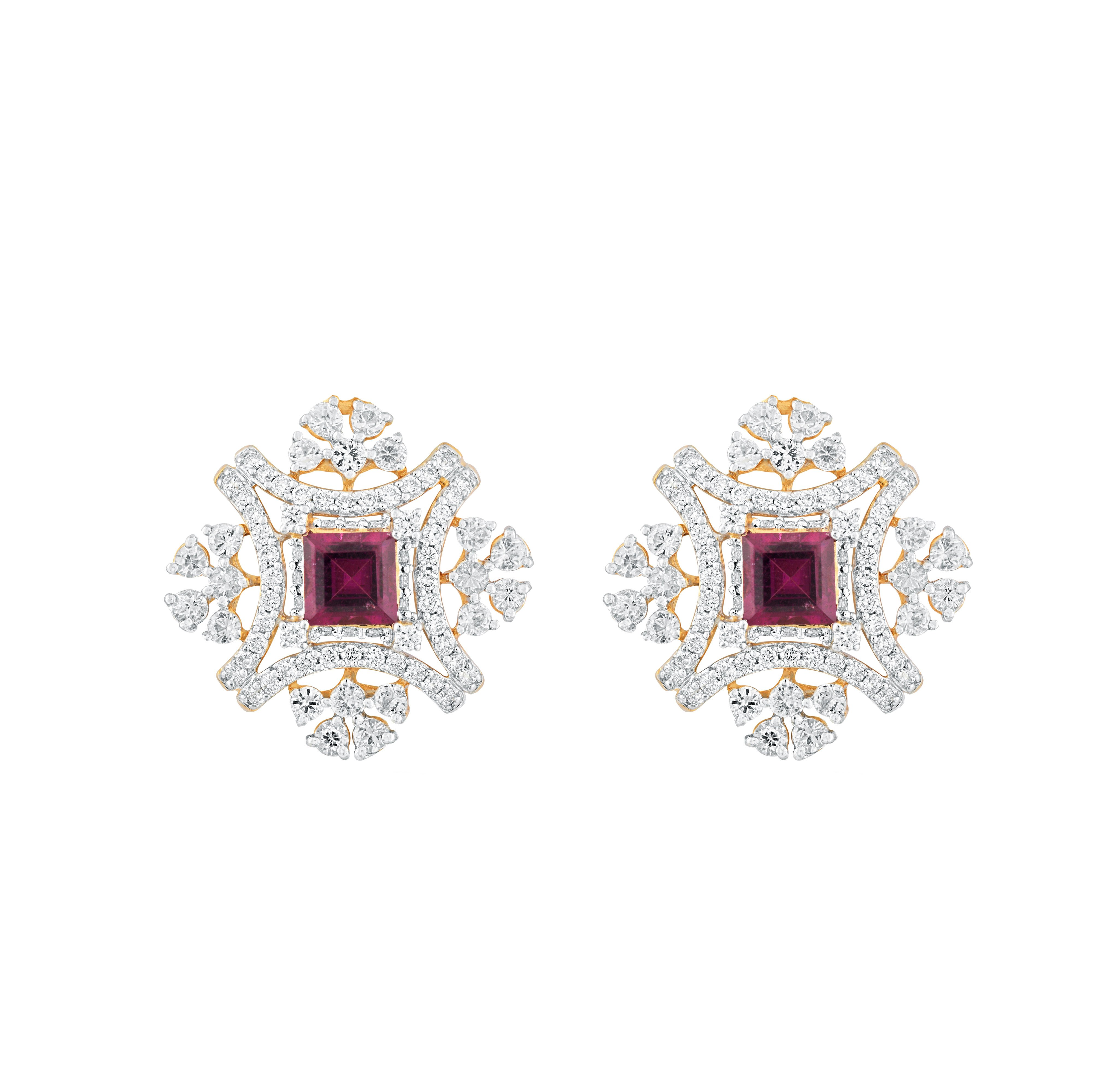 e3c583a675225 Rhodolite Cut and White Sapphire Floral Diamond Earring