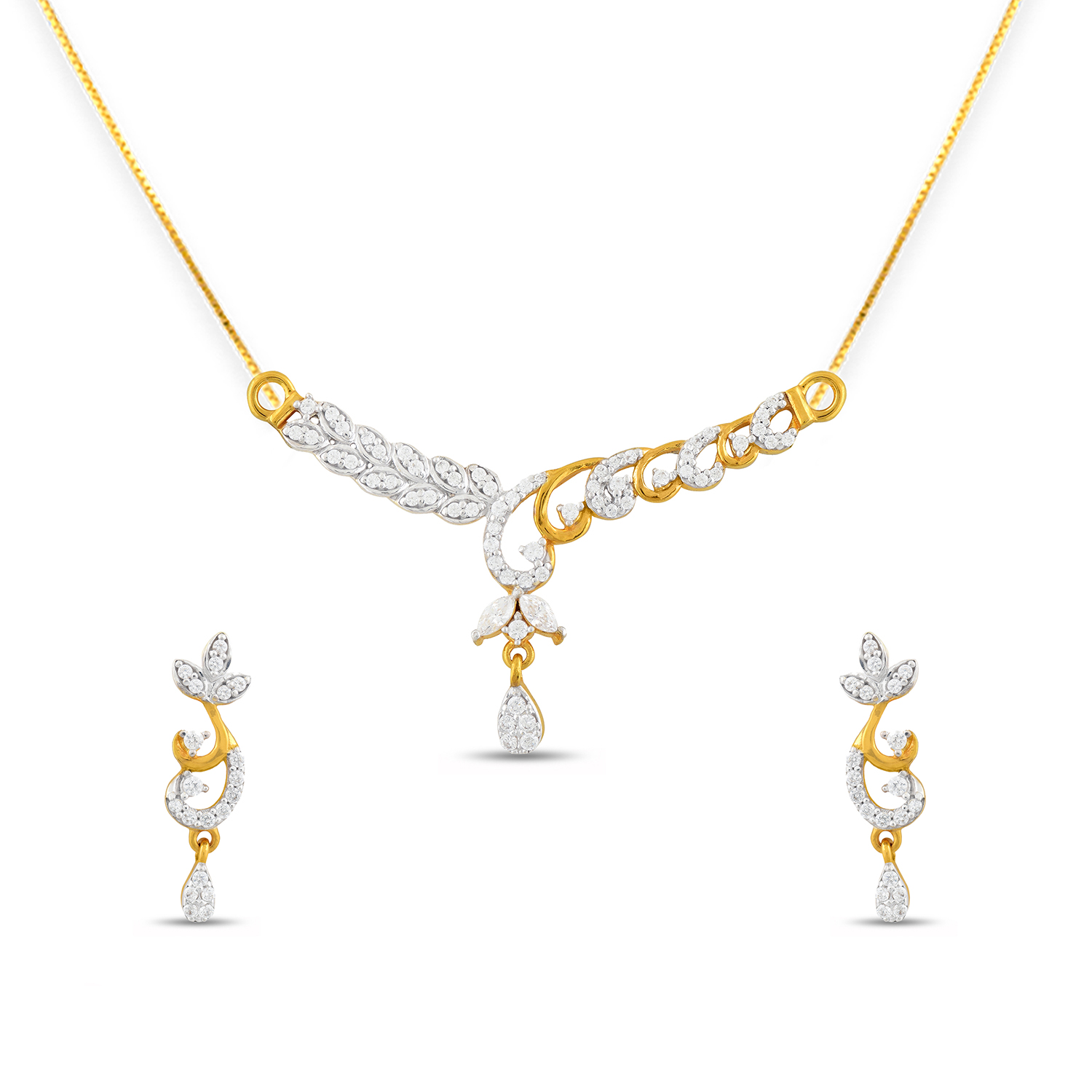 e3d4fb76f09734 Gold Double Chain Pendant Set, Designer Gold Tanmaniya