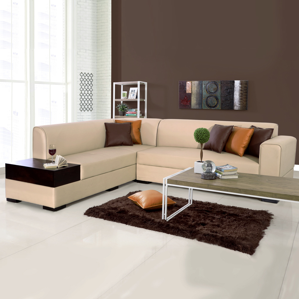 Phenomenal Alden Leatherette L Shape Sofa Left Light Brown Gmtry Best Dining Table And Chair Ideas Images Gmtryco