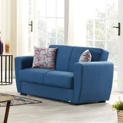 9d48467e8a Two Seater,EVOK,Dolce Fabric Sofa Bed 2 Seater With Storage-Blue