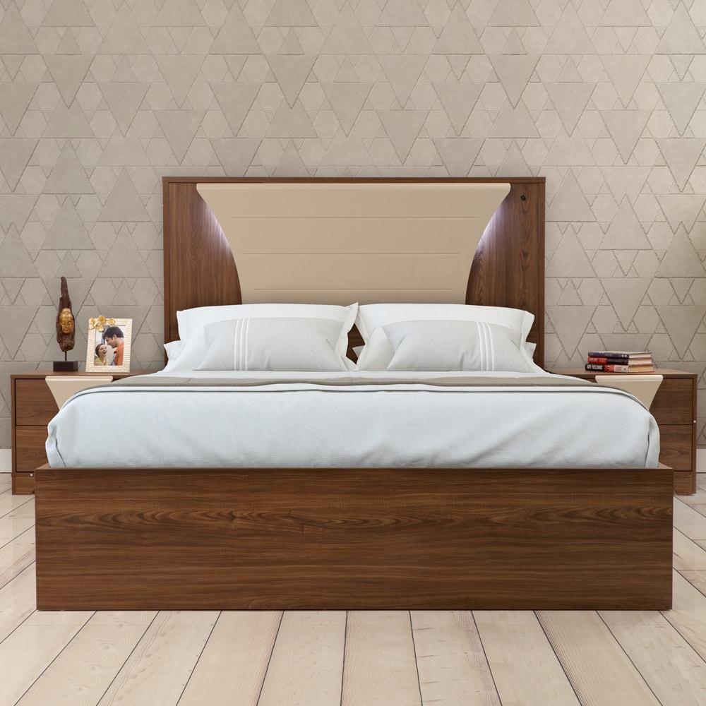Queen Bed.Venezia Engineerwood Queen Bed With Hydraulic Storage Cream Walnut