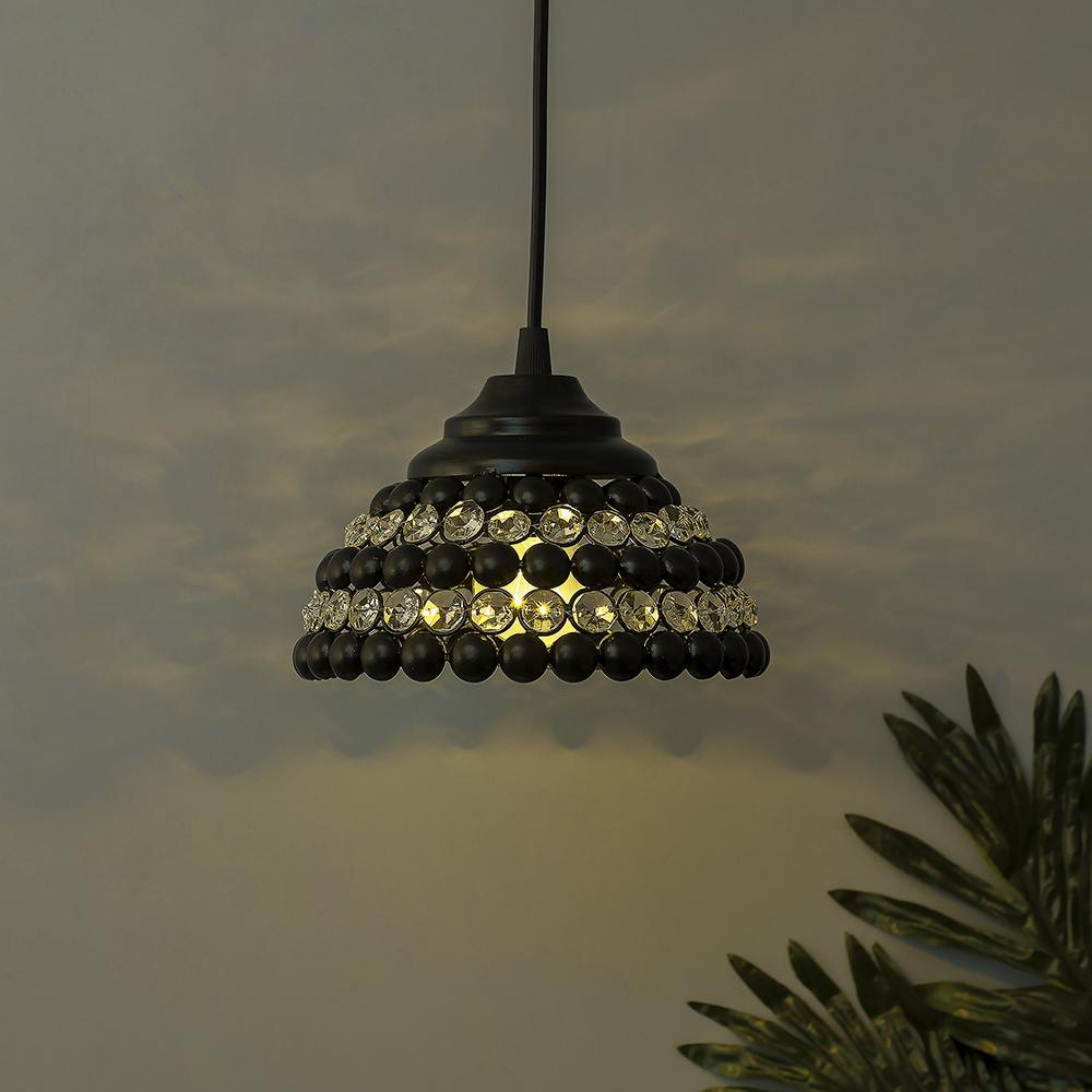 Matt black crystal hanging semi globe light ceiling light nordic e27 pendant