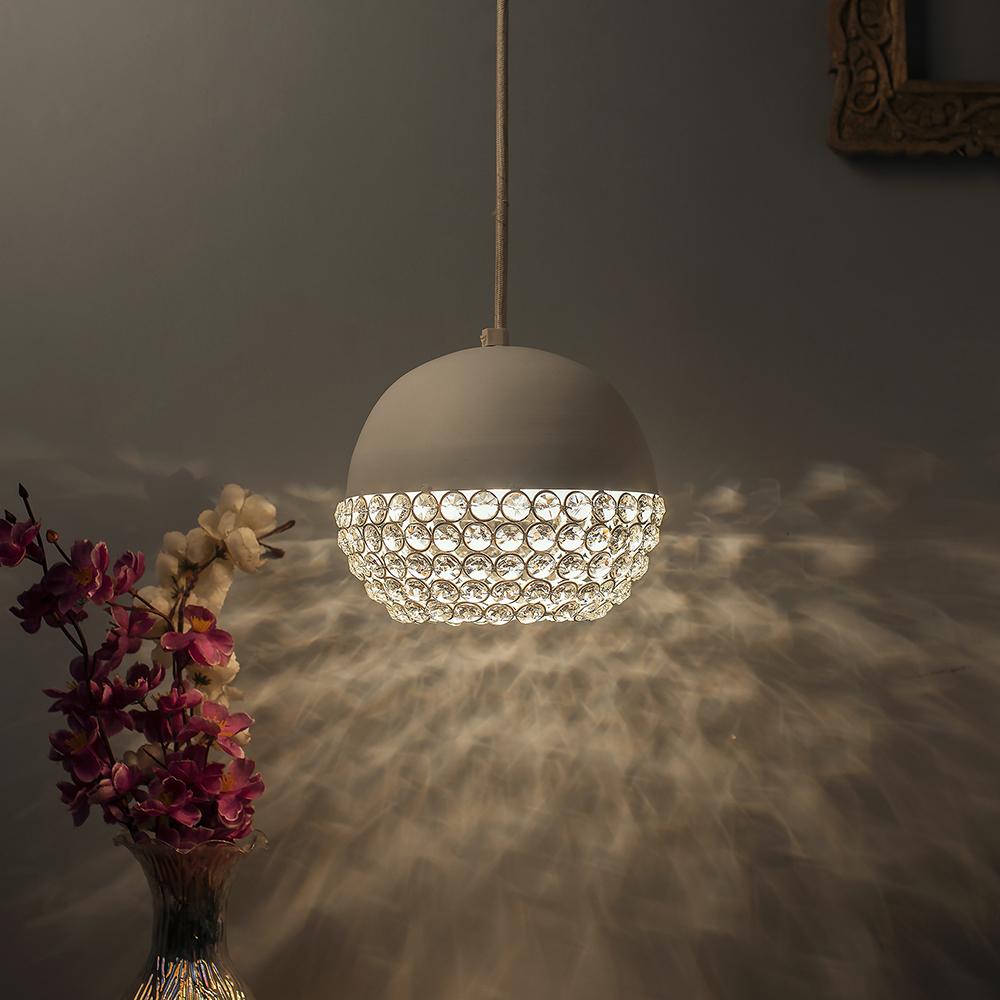 Matt white crystal hanging globe light ceiling light nordic e27 pendant