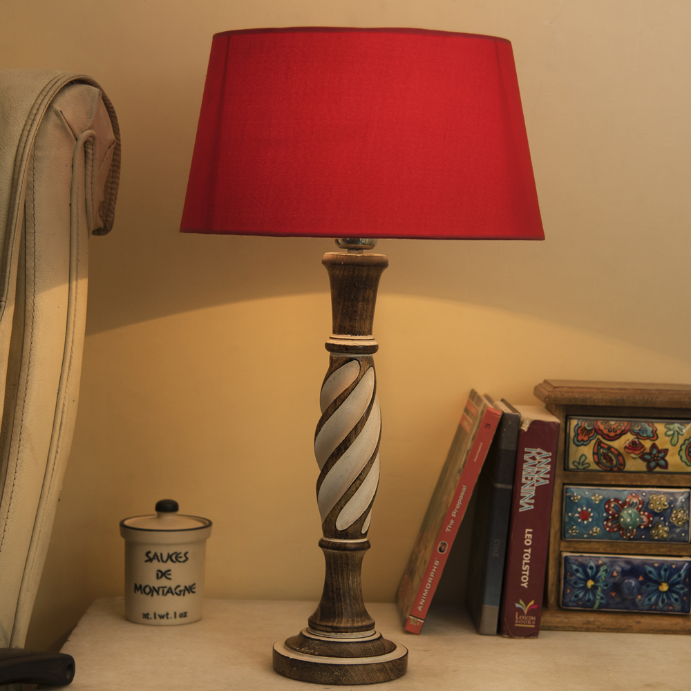 Incredible Antique White Twister Wooden Table Lamp With Red Shade Download Free Architecture Designs Ferenbritishbridgeorg