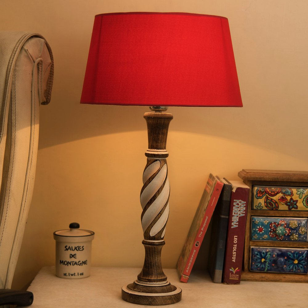 Excellent Antique White Twister Wooden Table Lamp With Red Shade Interior Design Ideas Inesswwsoteloinfo