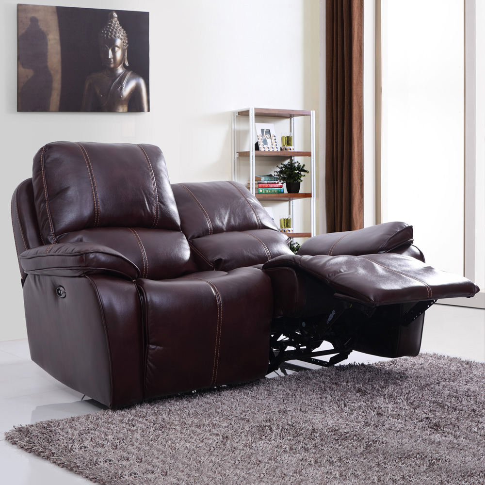 Iceland Leatherette Power Recliner Sofa 2 Seater-Red Brown