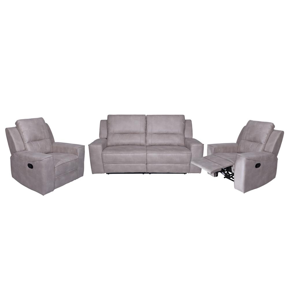 Angela Fabric Recliner Sofa Set 3 1 1 Light Grey