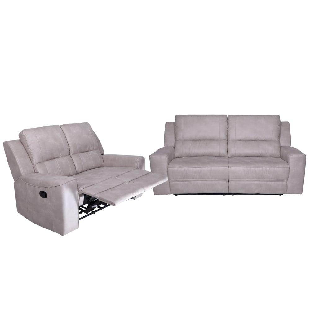 Angela Fabric Recliner Sofa Set 3 2 Light Grey