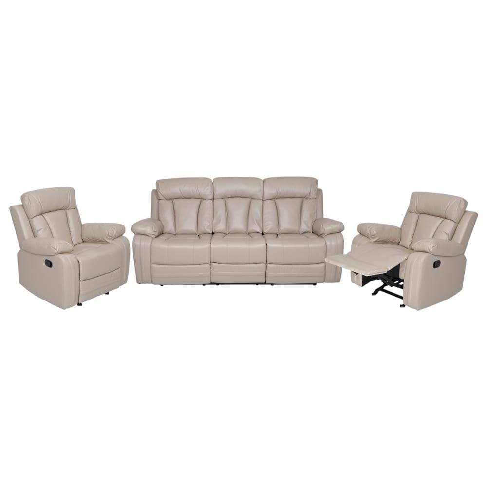 Magna New Leatherette Recliner Sofa Set 3 1 1 Beige