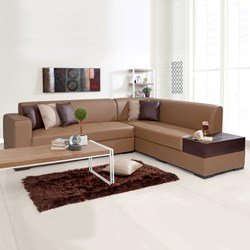 L Shaped Sofas Alden Leatherette L Shape Sofa Right Tan Brown