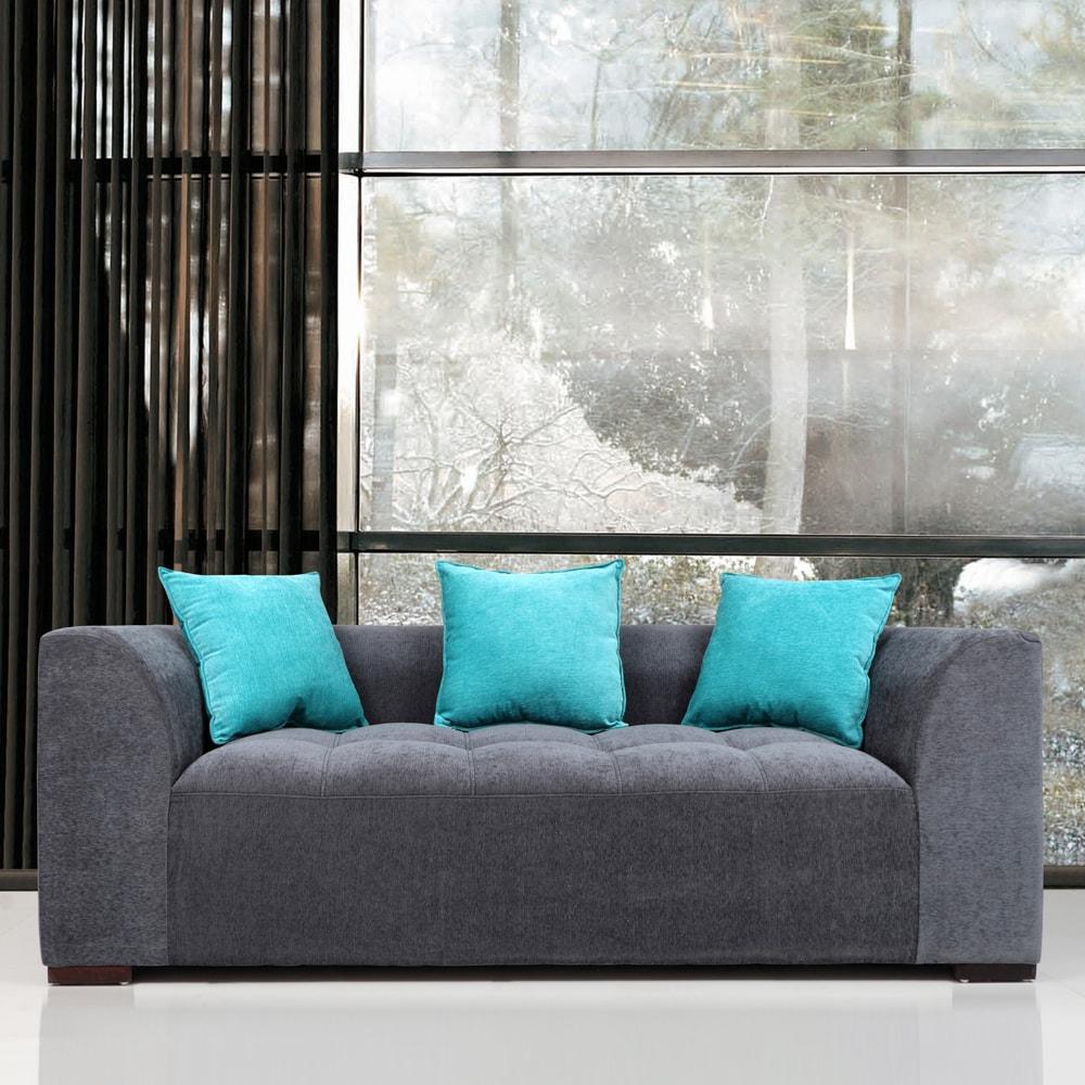 Three Seater Roland Fabric 3 Seater Sofa Grey Turquoise