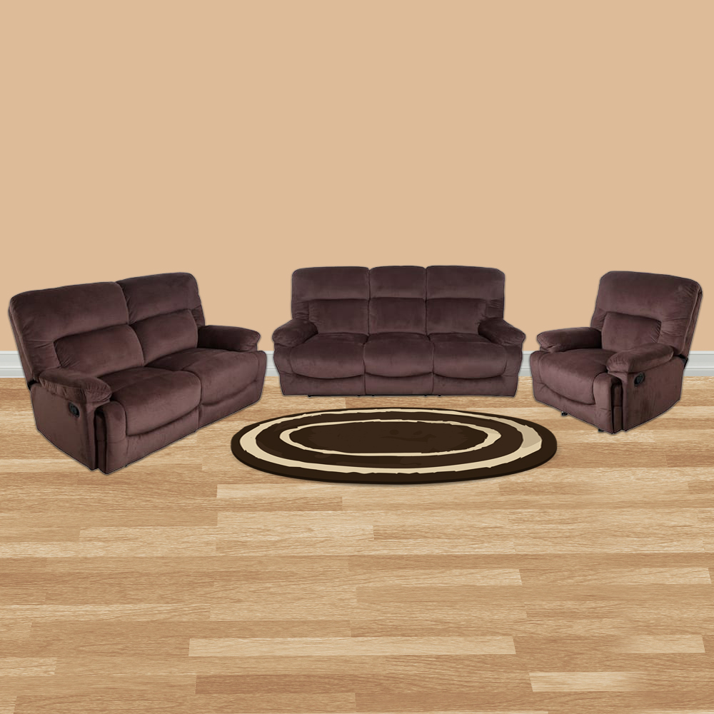 Cardiff Fabric Recliner Sofa Set 3 2 1 Seater In Chocolate Colour