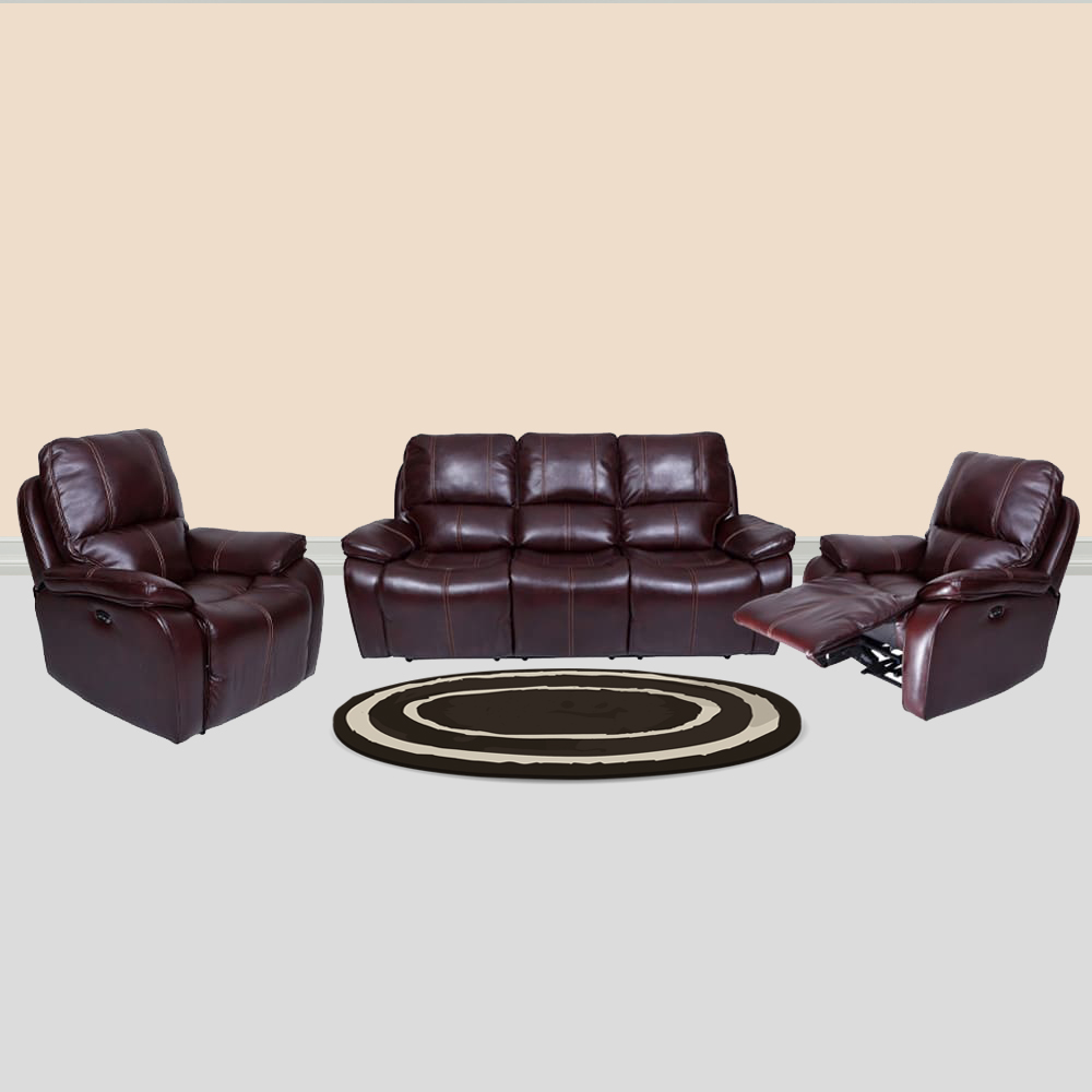 Three Seater Iceland Leatherette Recliner Sofa Set 3 1 Red Brown