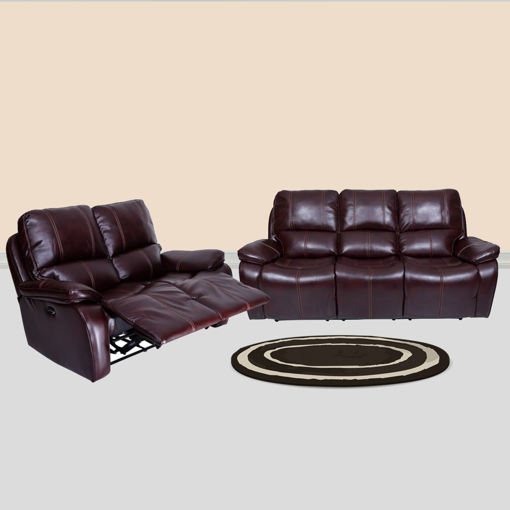 Three Seater Iceland Leatherette Power Recliner Sofa Set 3 2 Red Brown