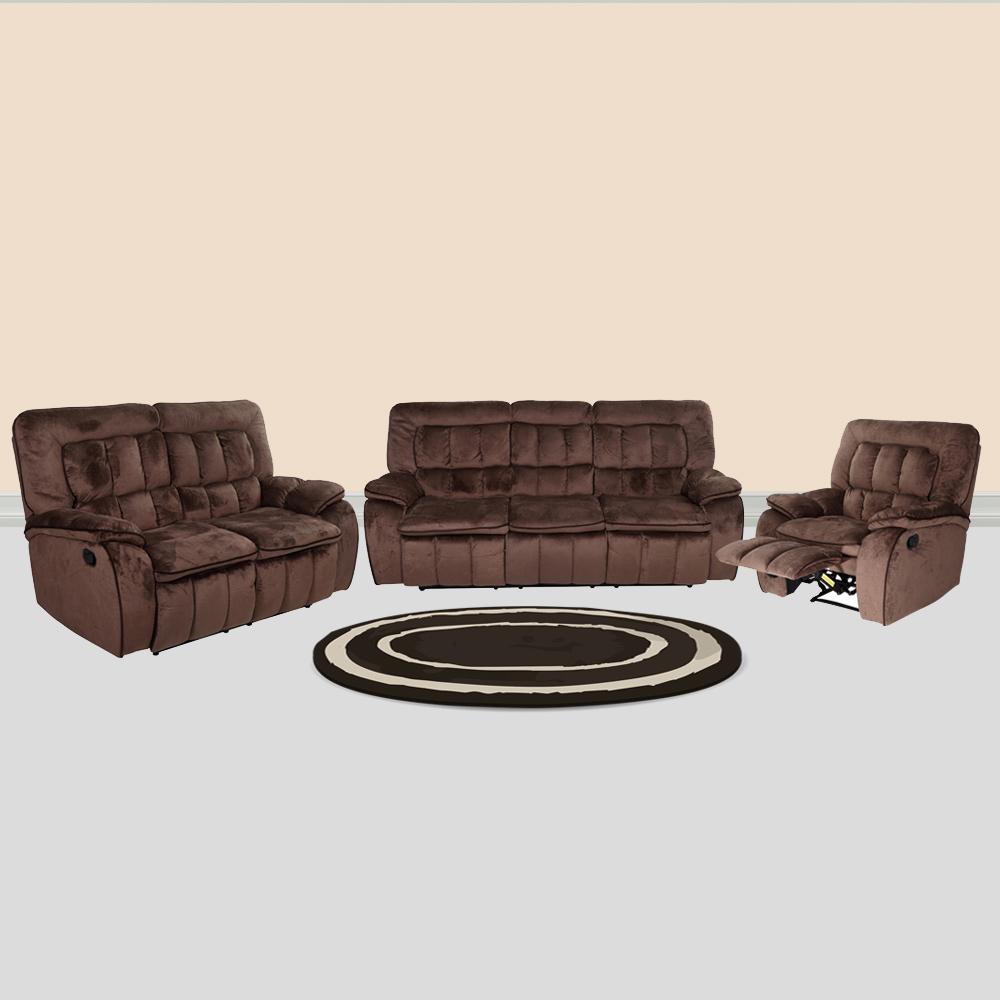 Augusta Fabric Recliner Sofa Set 3 2 1 Chocolate
