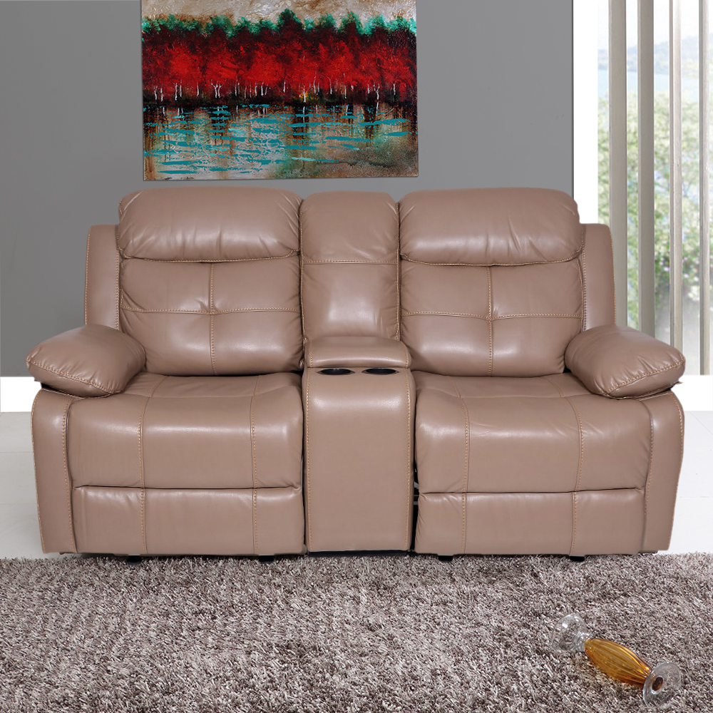 Art Leather Alex Recliner Sofa 2 Seater With Glider In Camel Color
