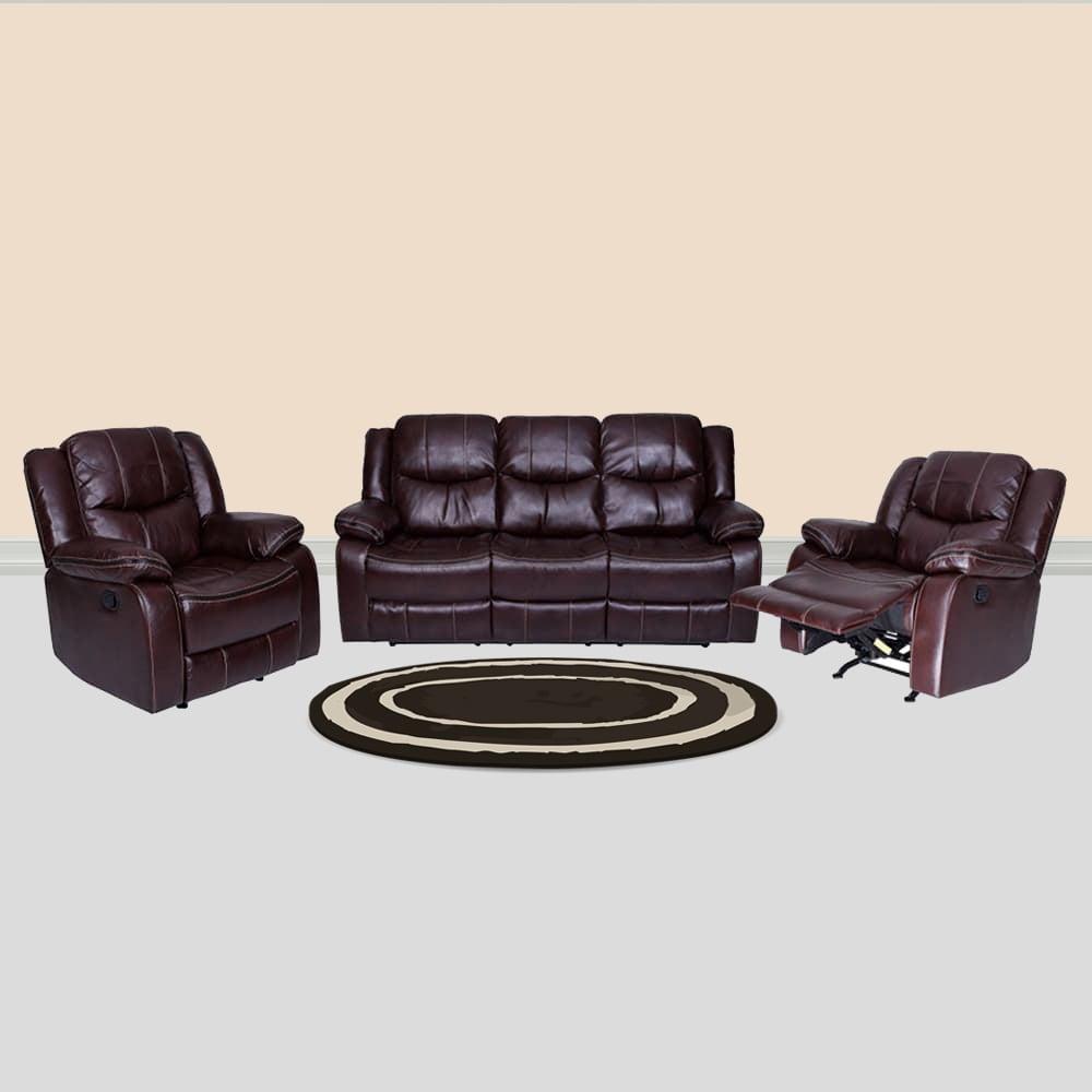 Three Seater Scotland Leatherette Recliner Sofa Set 3 1 1 Brown