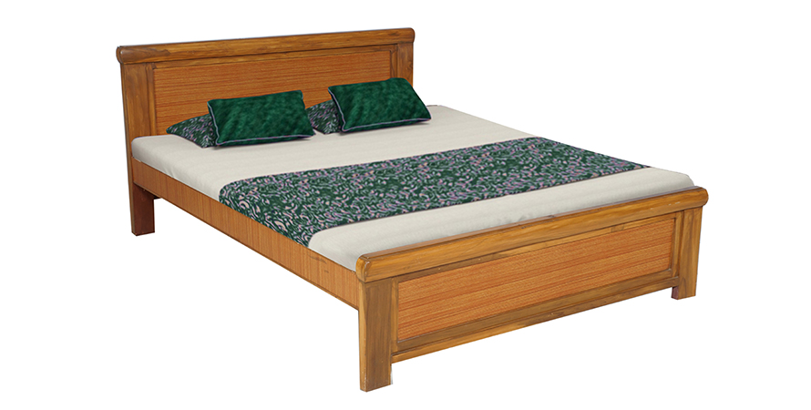 Baffin Teak Wood King Size Bed With Natural Teak Finish With Mattress