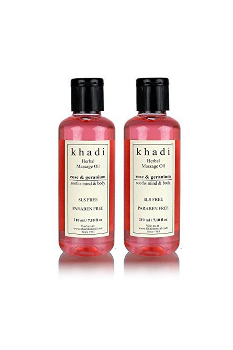 Khadi Rose And Geranium Massage Oil 210Ml Pack Of
